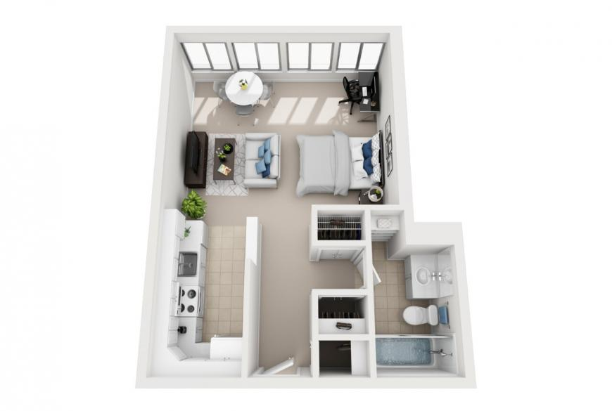 Santa Monica studio apartment floorplan