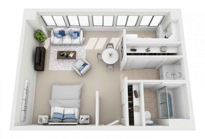 Santa Monica studio apartment for rent floorplan