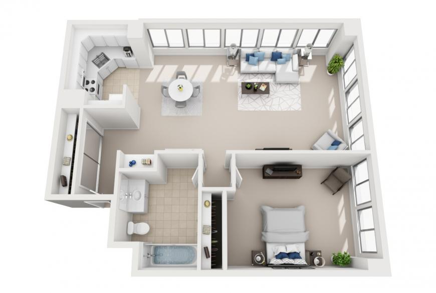 Santa Monica one bedroom apartment for rent floorplan