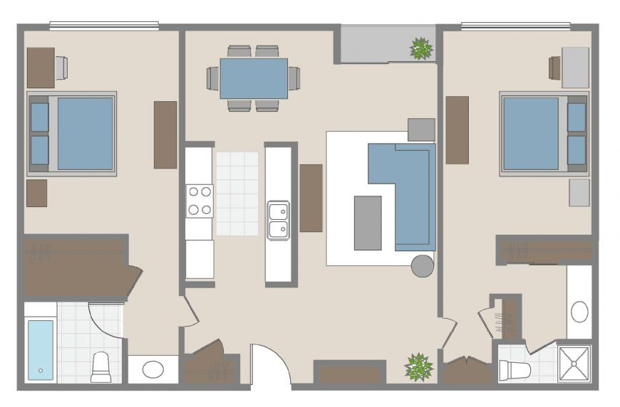 Two bedroom Brentwood apartment for rent floorplan