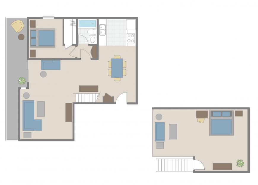 Brentwood one bedroom loft apartment floorplan