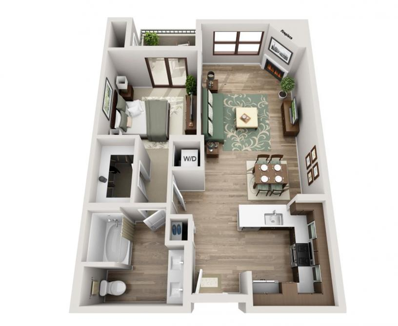One bedroom Westwood apartment floorplan