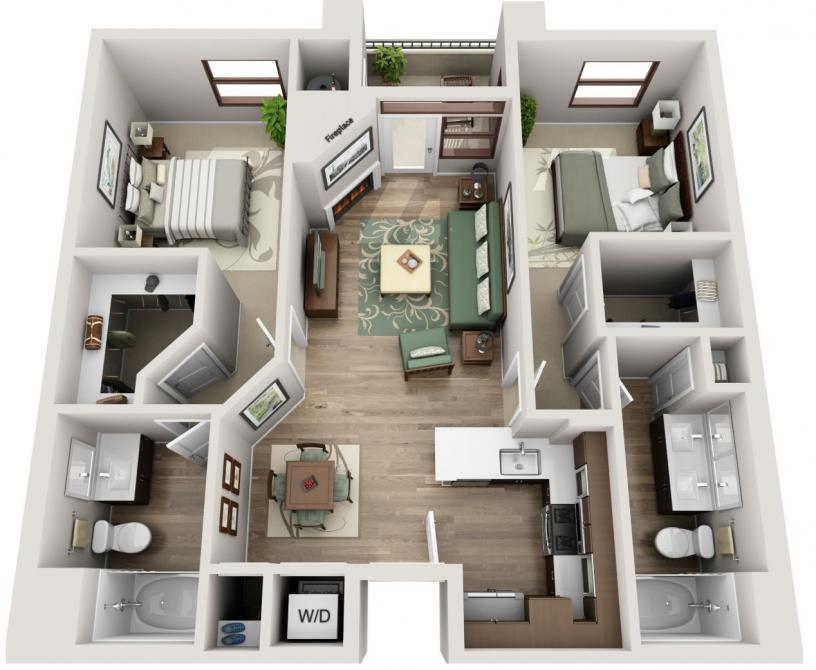 Two bedroom Westwood apartment for rent floorplan