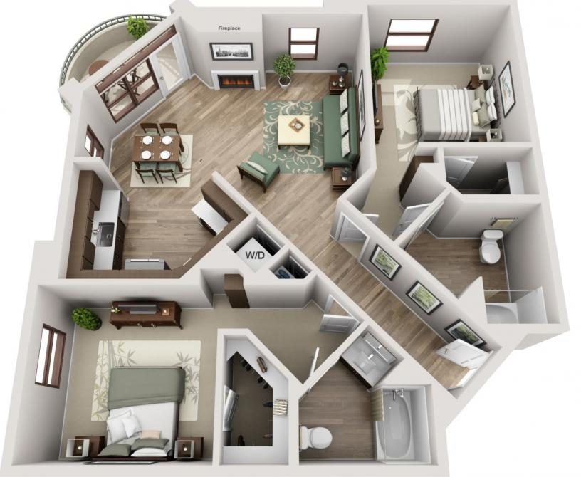 Westwood two bedroom two bathroom apartment floorplan