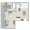 One bedroom + den Brentwood apartment floor plan