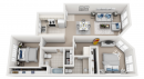Two bedroom Honolulu apartment floor plan